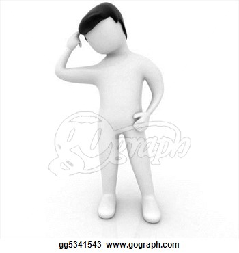 3d Human Scratching His Head Clipart Panda