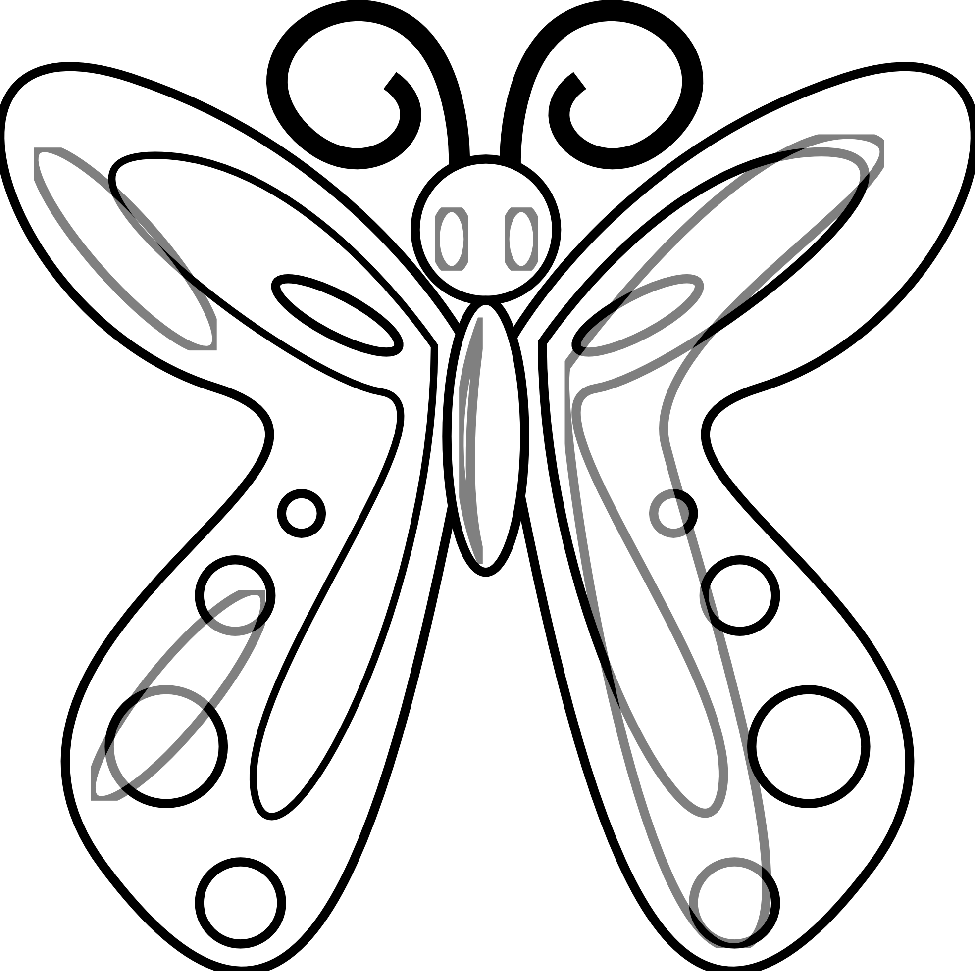 Vector Drawing Lines Worksheets : Clipart butterfly outline panda free
