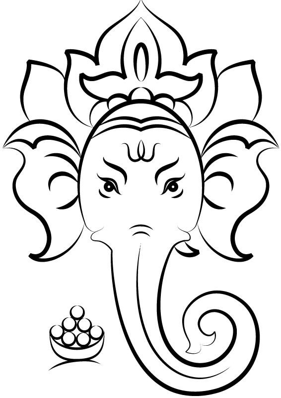 Hindu Gods Simple Coloring Pages