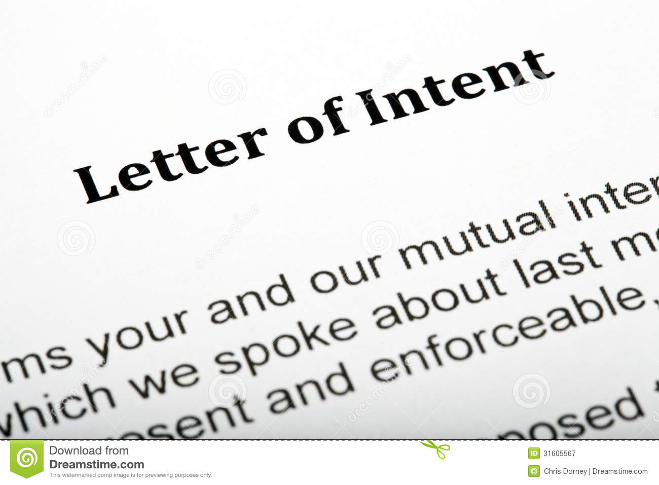 letter of intend