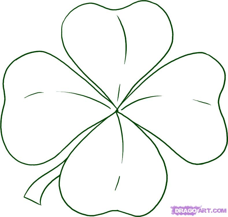 Three Leaf Clover Outline Iris Flower Clip Art 1