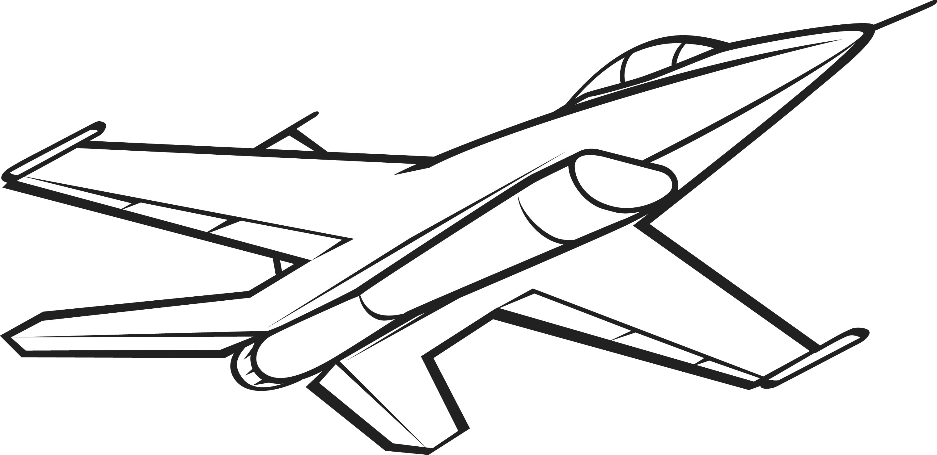 Line Drawing Jet : Jet clipart black and white panda free