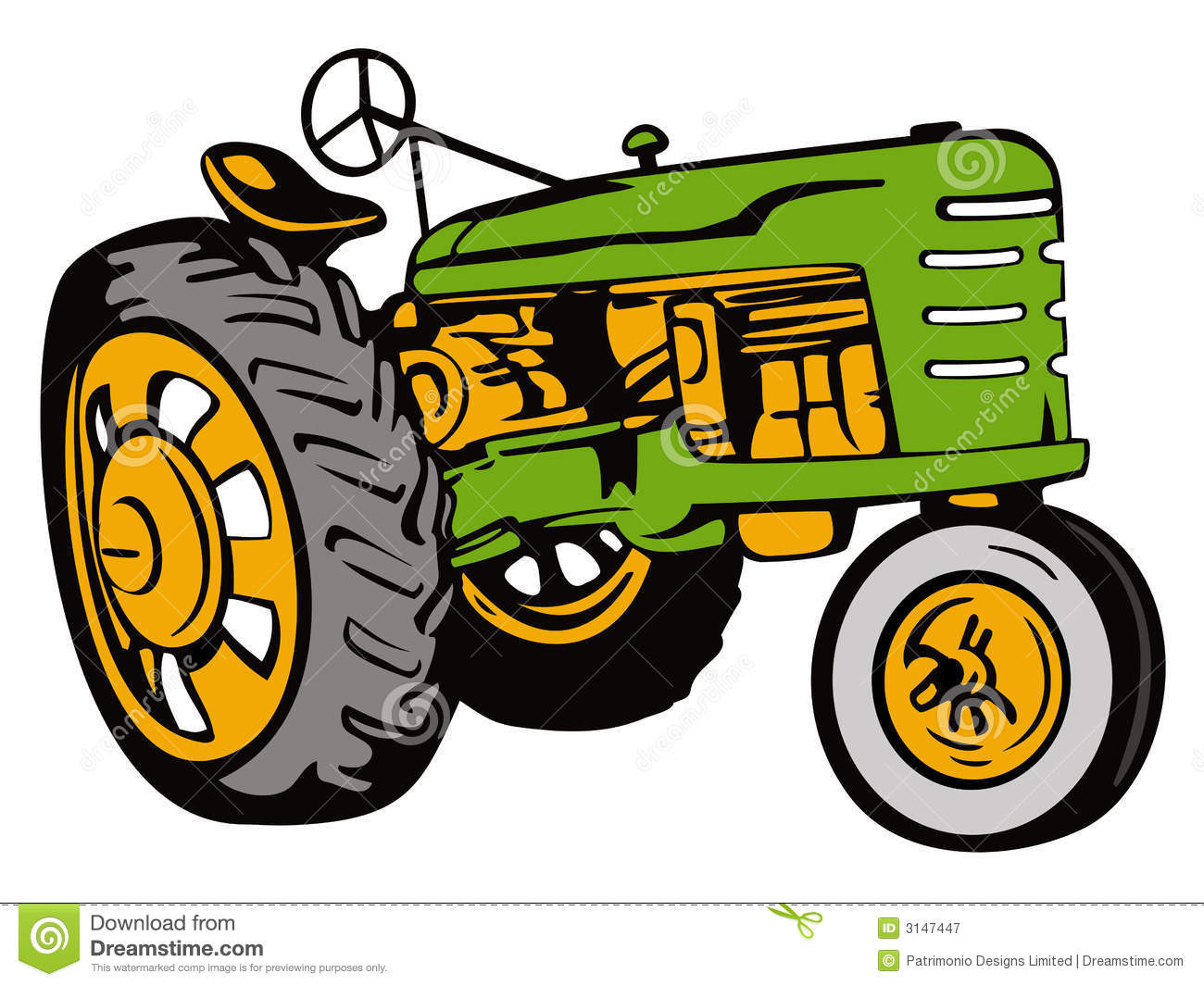 Vintage Tractor Cartoon : John deere green tractor clipart panda free