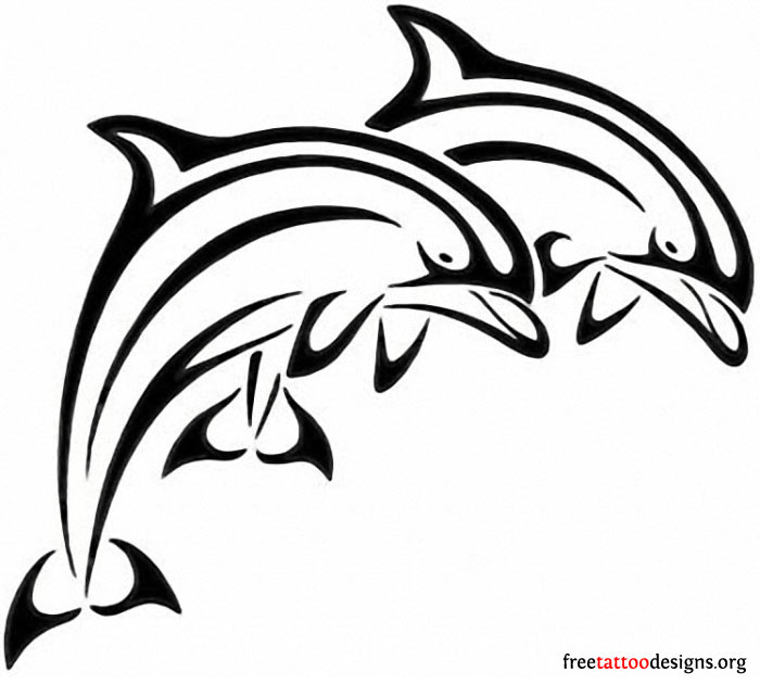 Dolphin outline tattoo - photo#13