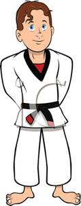 karate-clip-art-A Colorful Cartoon Boy Wearing a Karate Outfit Royalty    Black Karate Cartoon