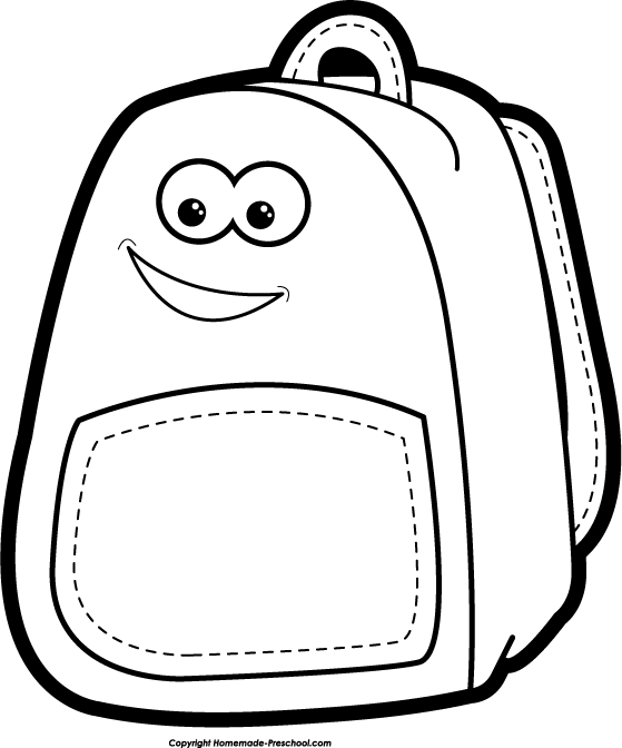 Kid With Backpack Clipart Black And White | Clipart Panda ...