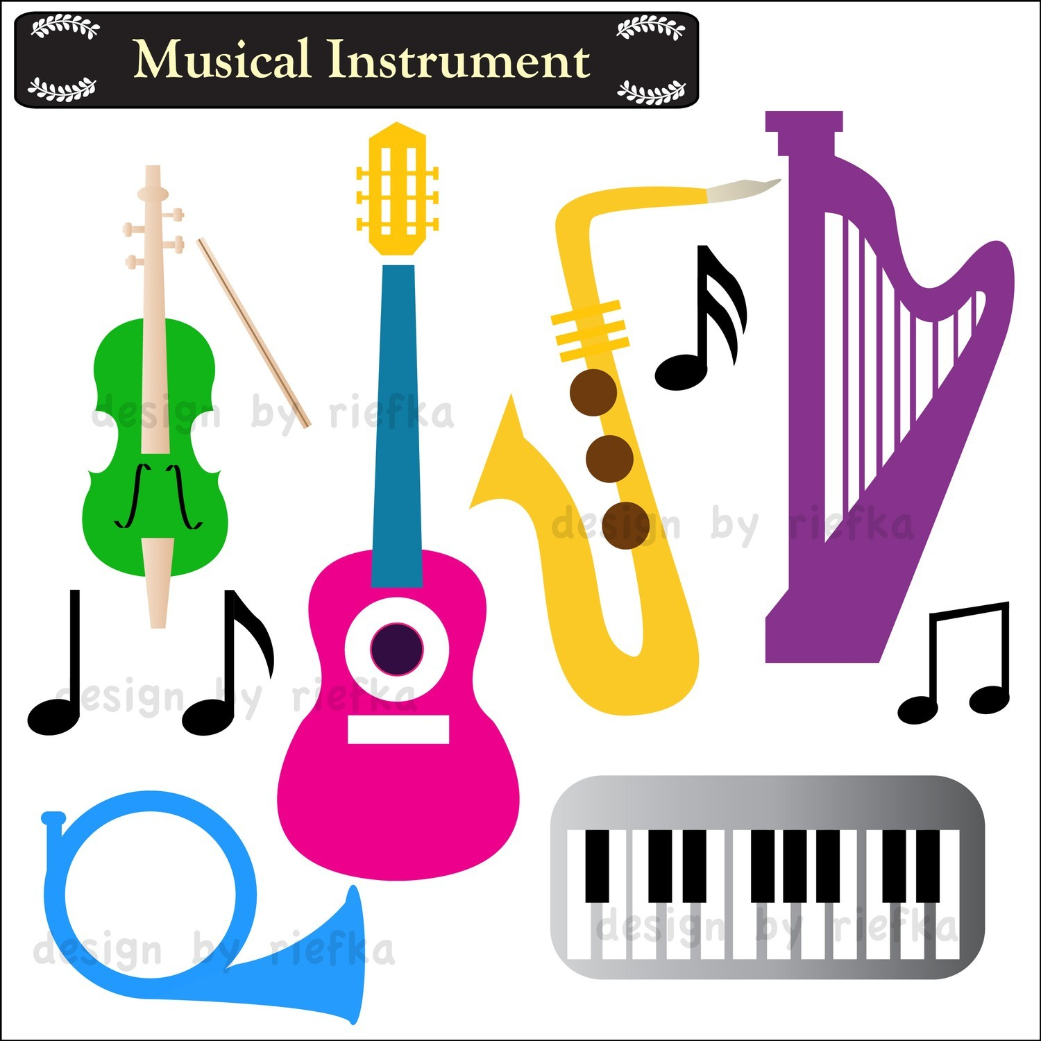 Preschool Musical Instruments Clip Art