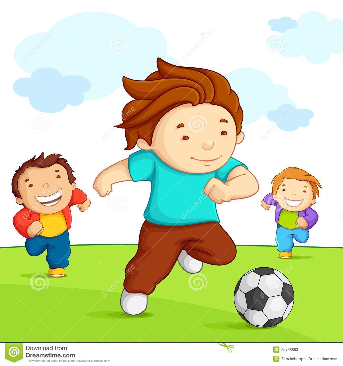 Kids Playing Football Illustrations, Royalty-Free Vector ... |Kids Playing Soccer Clipart
