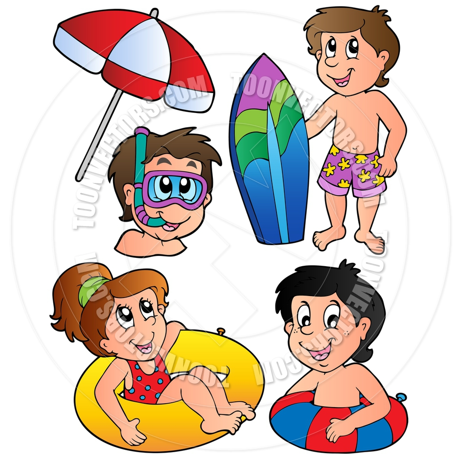 Cartoon Swimming Kids