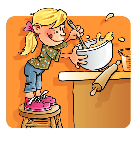 Kids Cooking With Mom Clipart