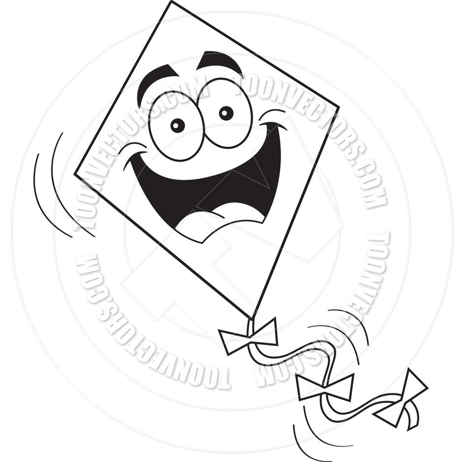 clipart black and white kite - photo #7