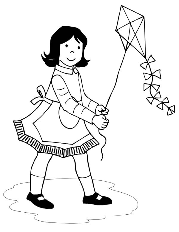 46 Kite Coloring Pages Girl With Apron Flying Page
