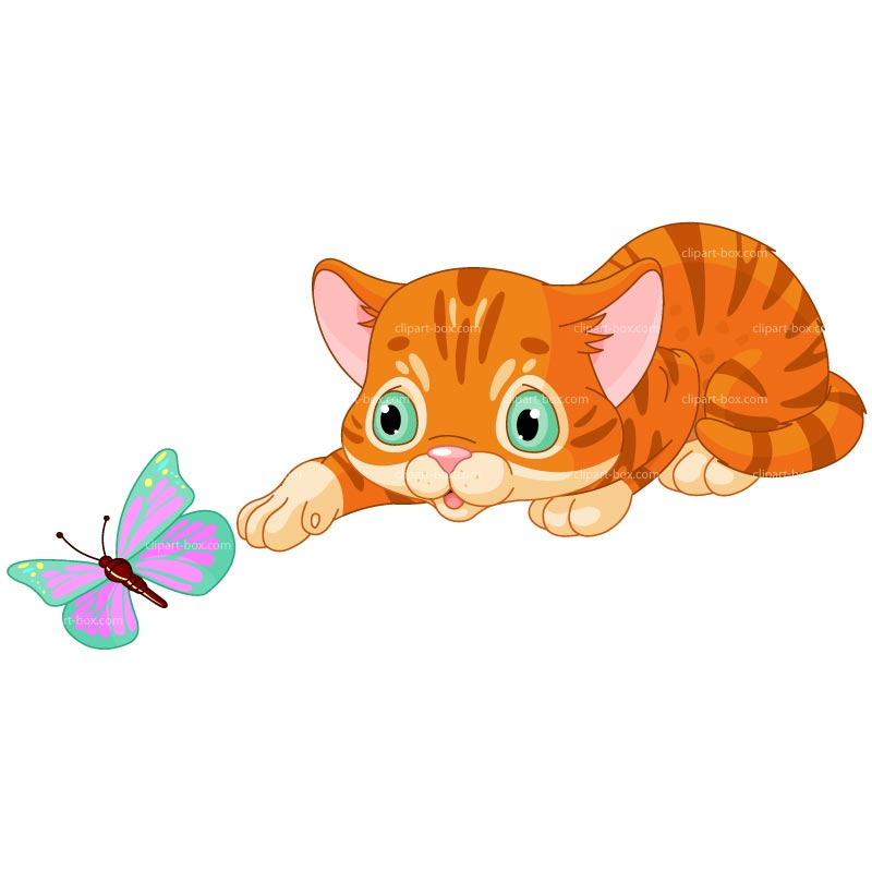 CLIPART KITTEN PLAYING WITH