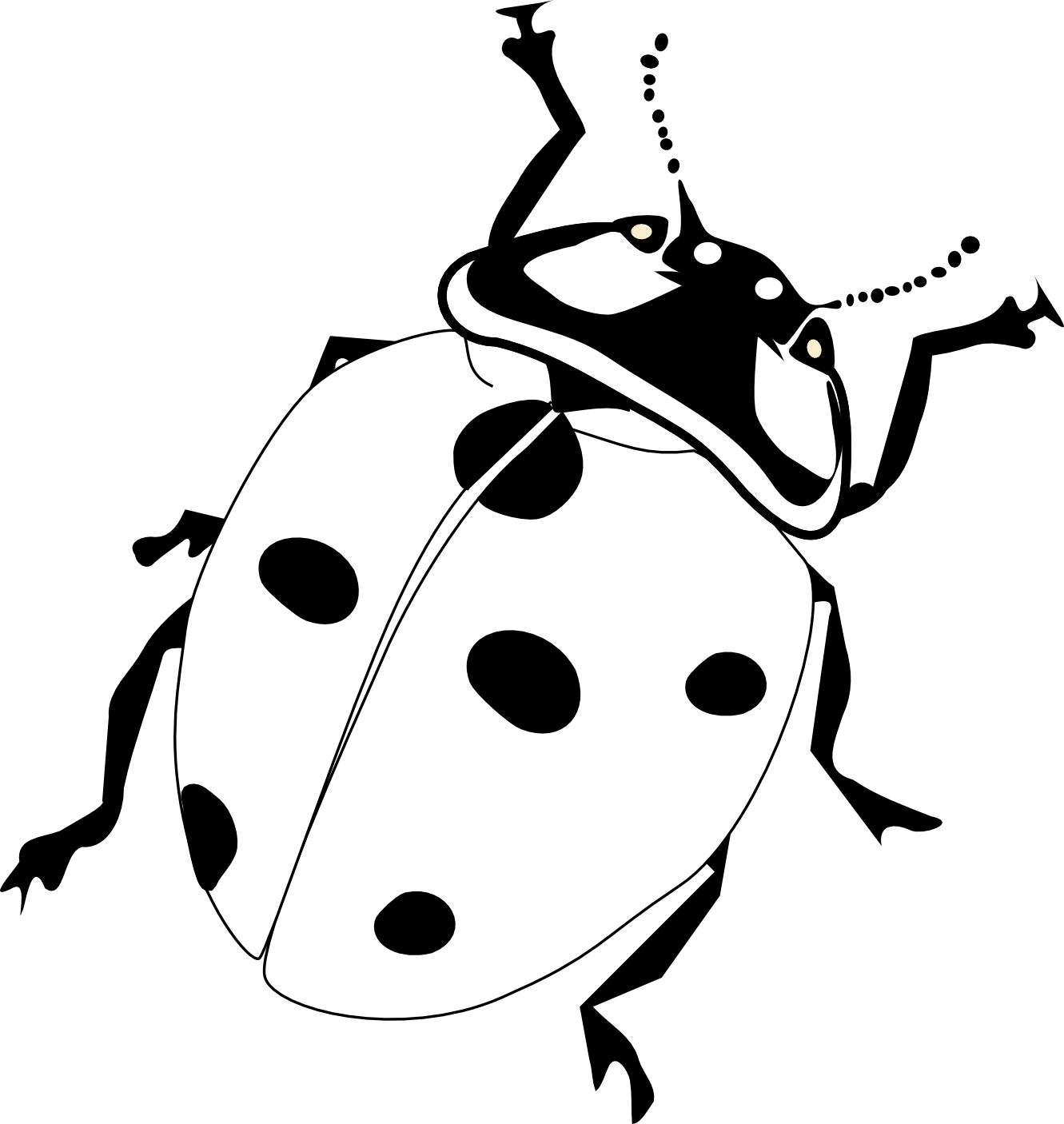 Cartoon of Black and White Ladybugs and Flowers  Royalty
