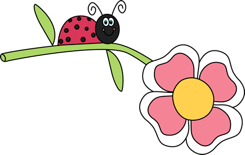 Ladybug on a Flower Clip Art