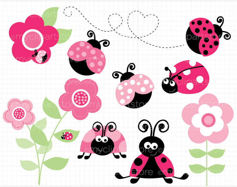 pink lady bug invitations clipart panda free clipart
