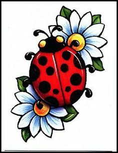 Ladybug On Flower Tattoo | Clipart Panda - Free Clipart Images