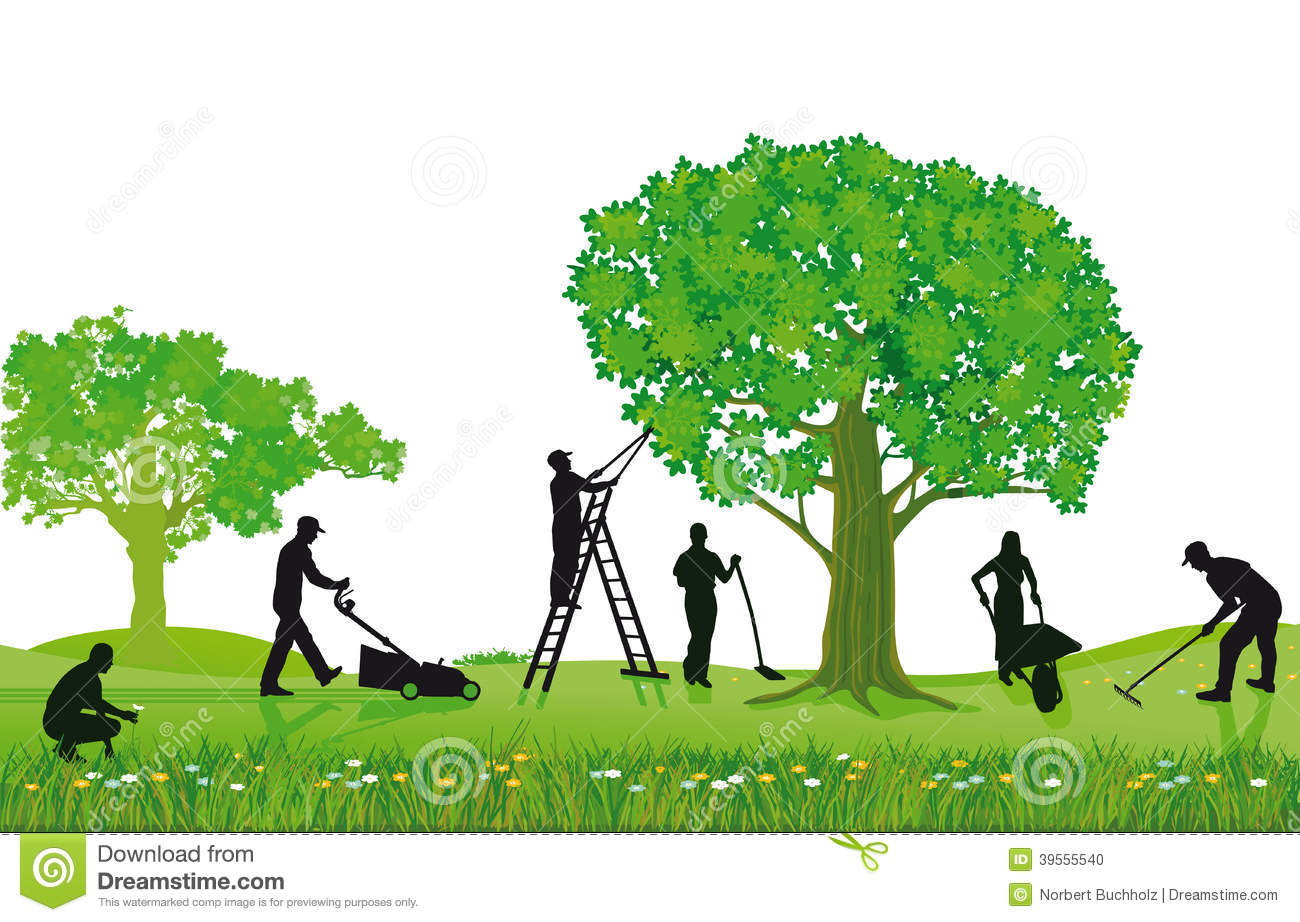 Landscaping clip art black and white clipart panda for Garden lawn maintenance