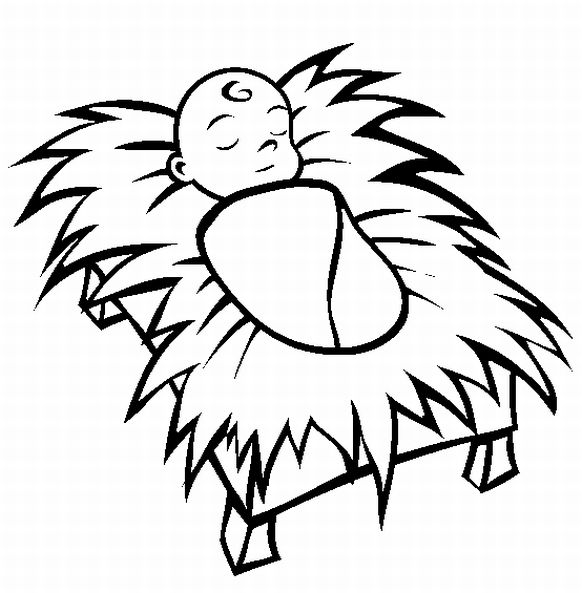 Jesus clip art black and white clipart panda free for Coloring pages baby jesus in manger