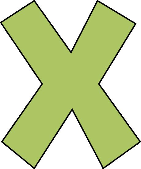 X alphabet. Green letter clip art