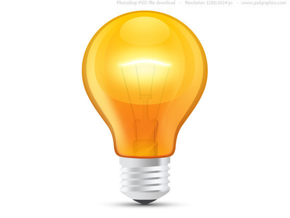 Glossy orange light bulb