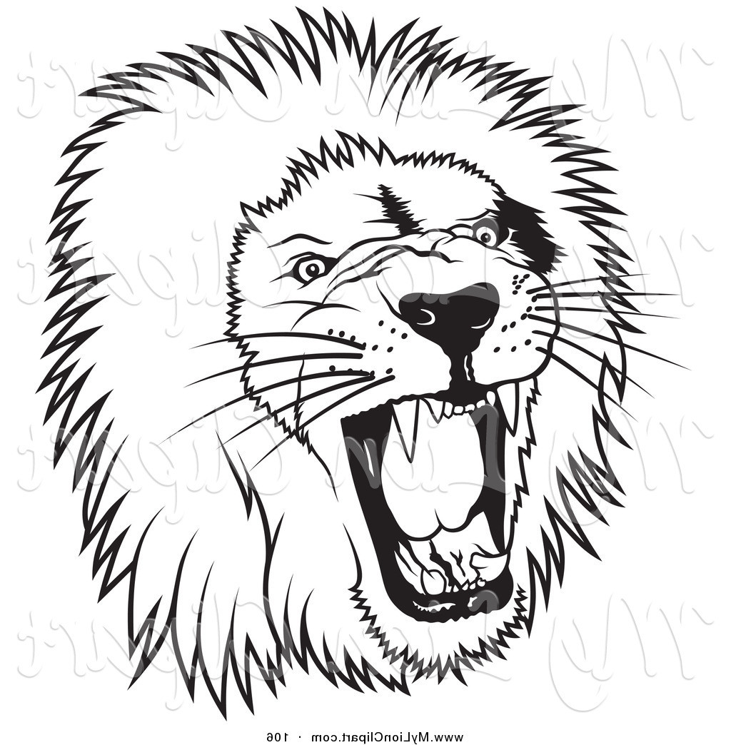 Black and white lion clip art - photo#14