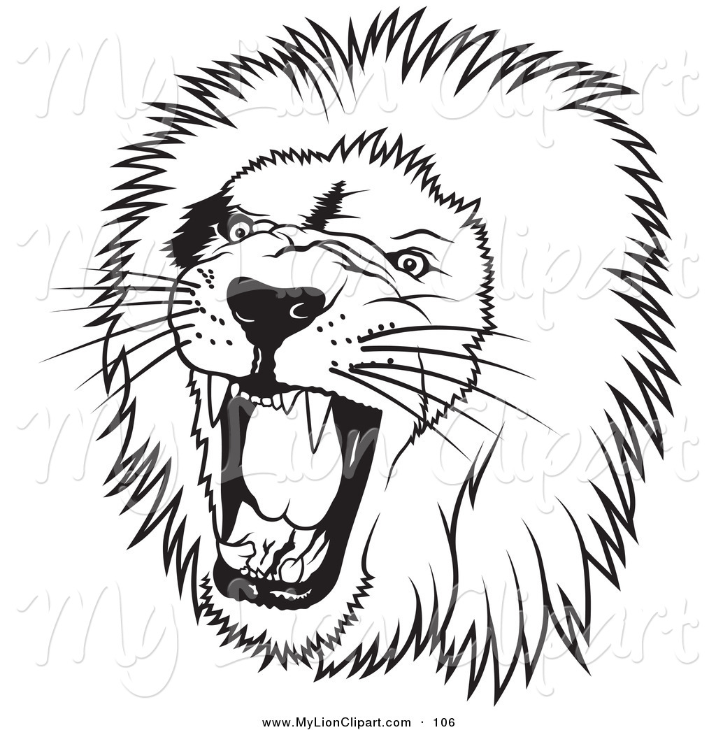 Black and white lion clip art - photo#12