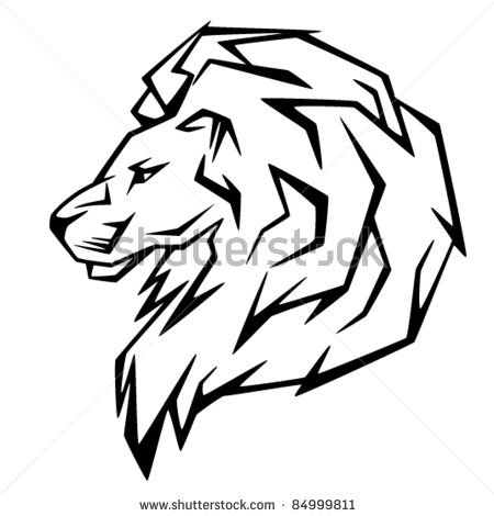 Lion head clipart black and white