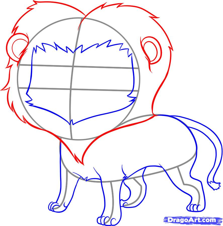 How to draw a lion head