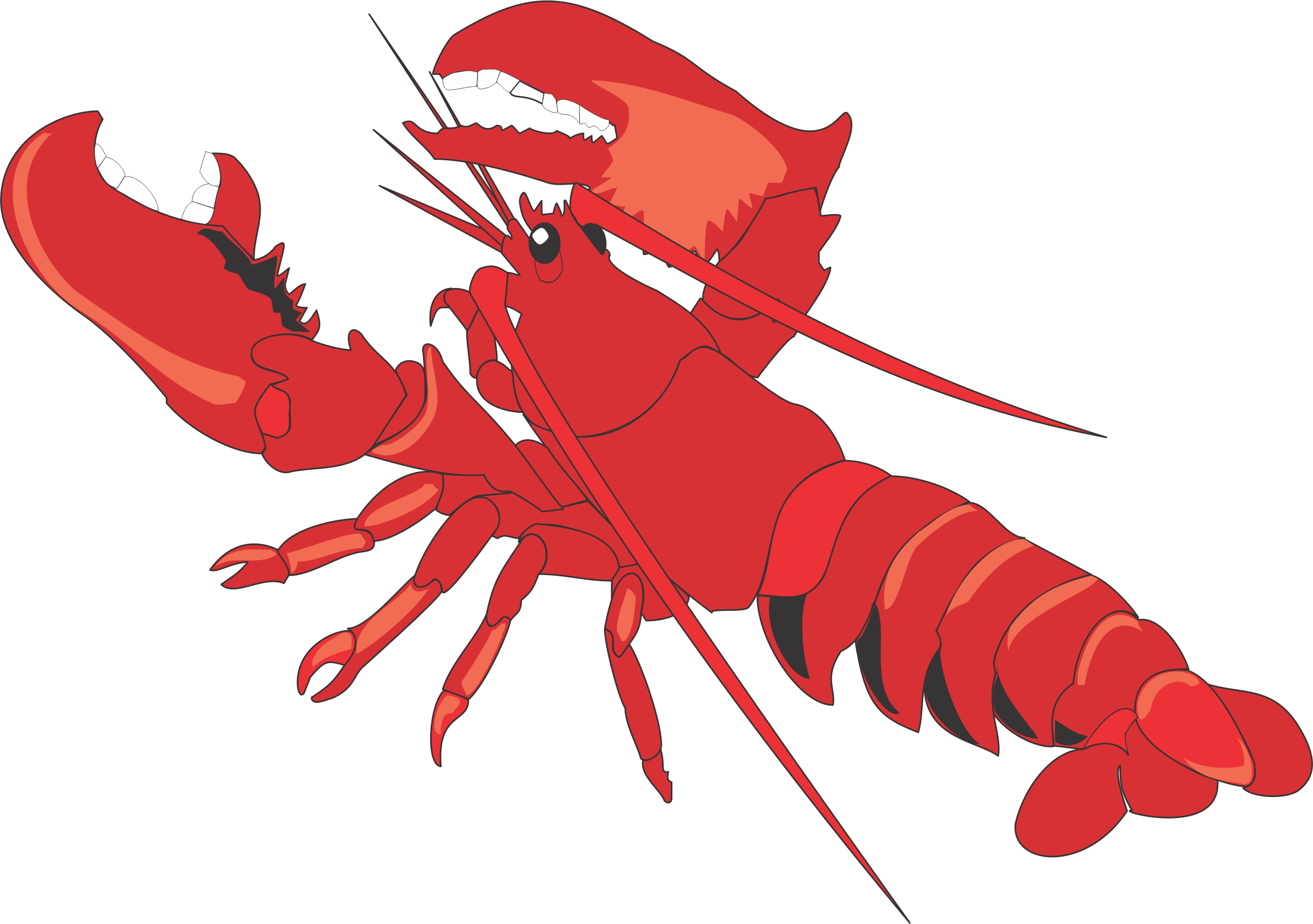Lobster Clip Art Black...