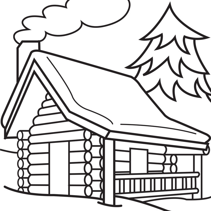 Mountain Cabin Coloring Page Coloring Pages