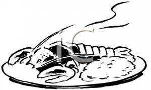 lunch-clipart-black-and-white-Black and White Lobster Dinner Royalty    Meal Clipart Black And White