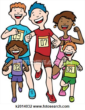 People running a race clipart