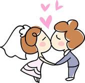 Kiss wedding. Clipart of dress panda