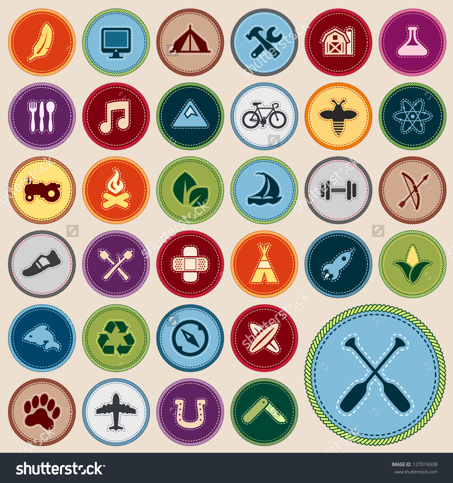 merit clipart stock vector set of scout merit badges for outdoor and ...