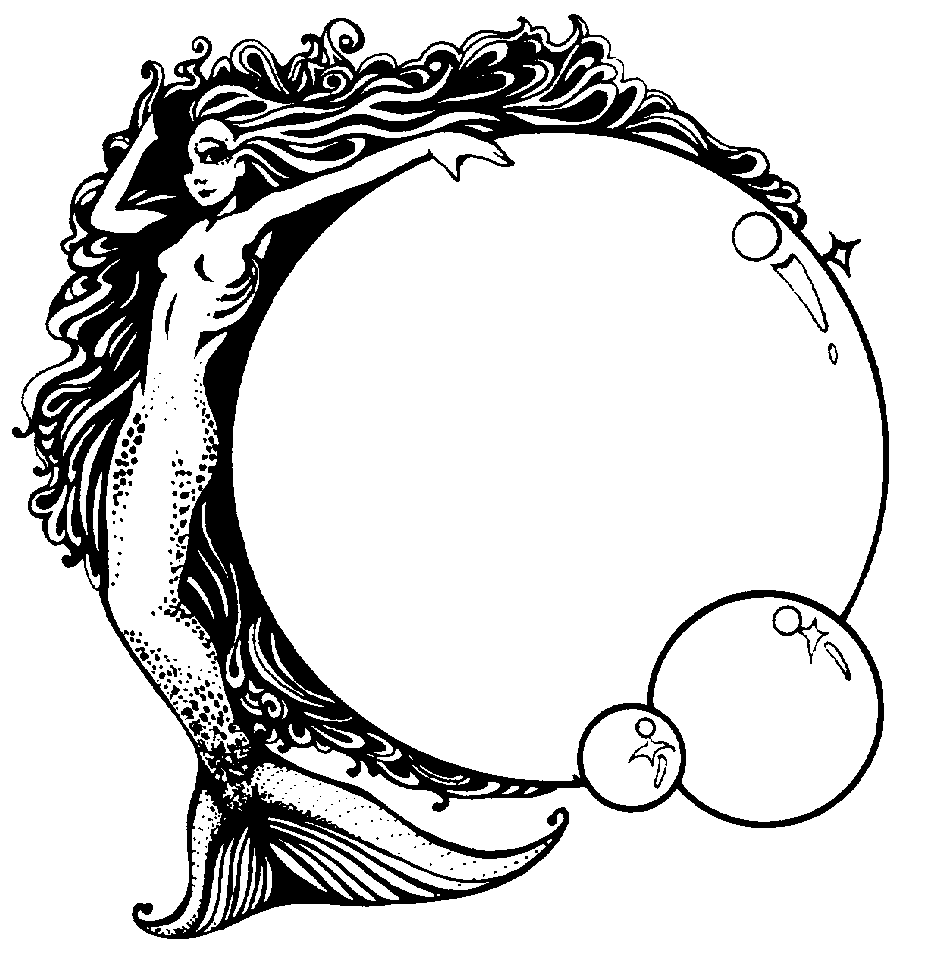 Mermaid Black And White Drawing