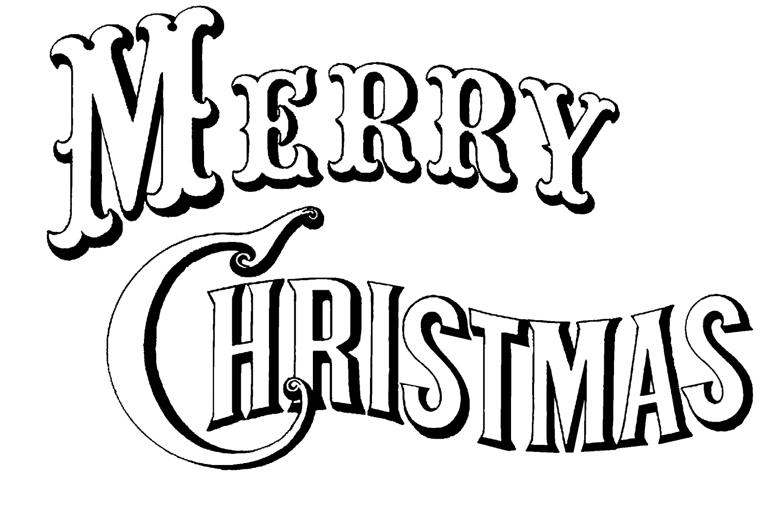 Merry Christmas Text Black and | Clipart Panda - Free Clipart Images