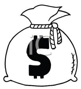 Black and White Bag of MoneyMoney Bag Clipart Black And White
