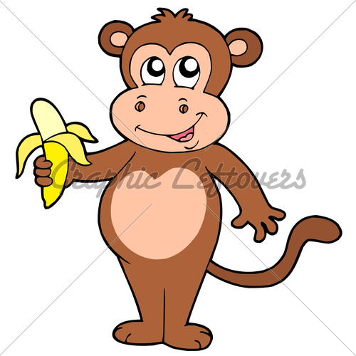 Monkey Cartoon Banana - 135.1KB
