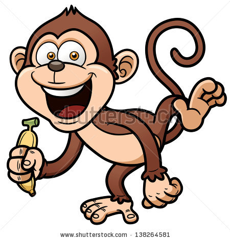 Monkey With Banana Cartoon | Clipart - 58.2KB