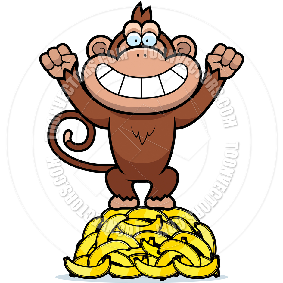 Monkey Throwing Bananas Clip Art - 506.7KB