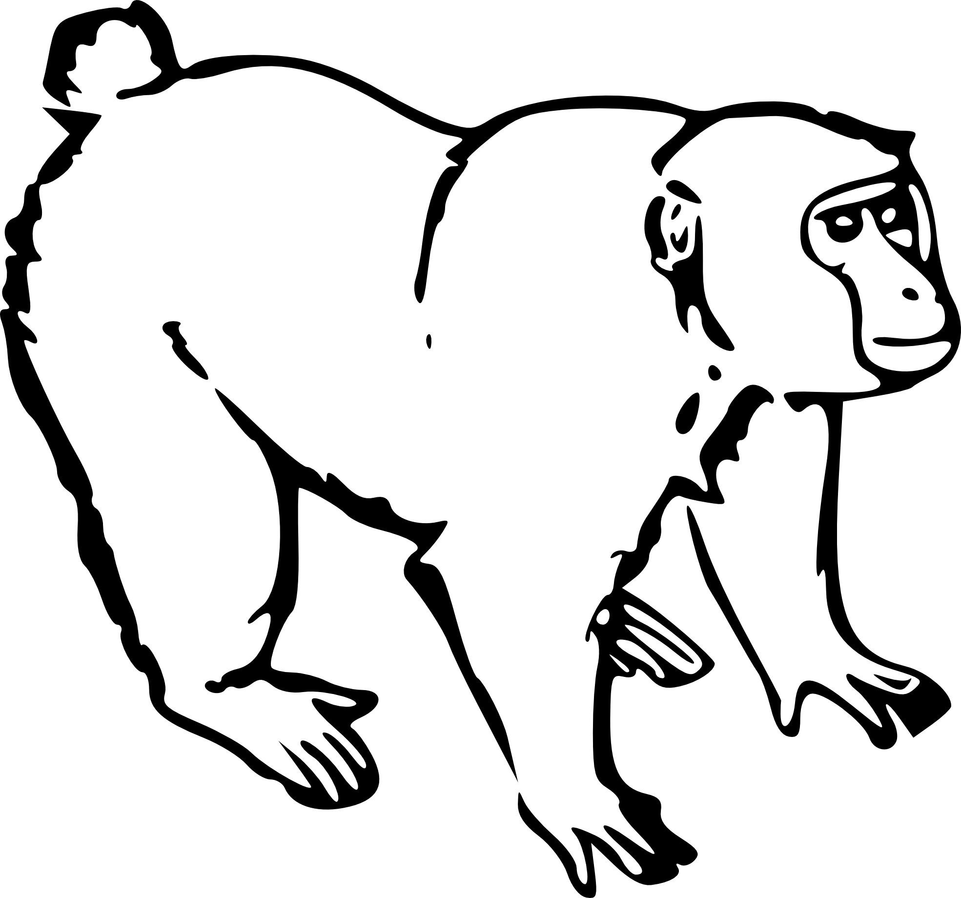 Line Drawing Monkey : Monkey clip art black and white clipart panda free