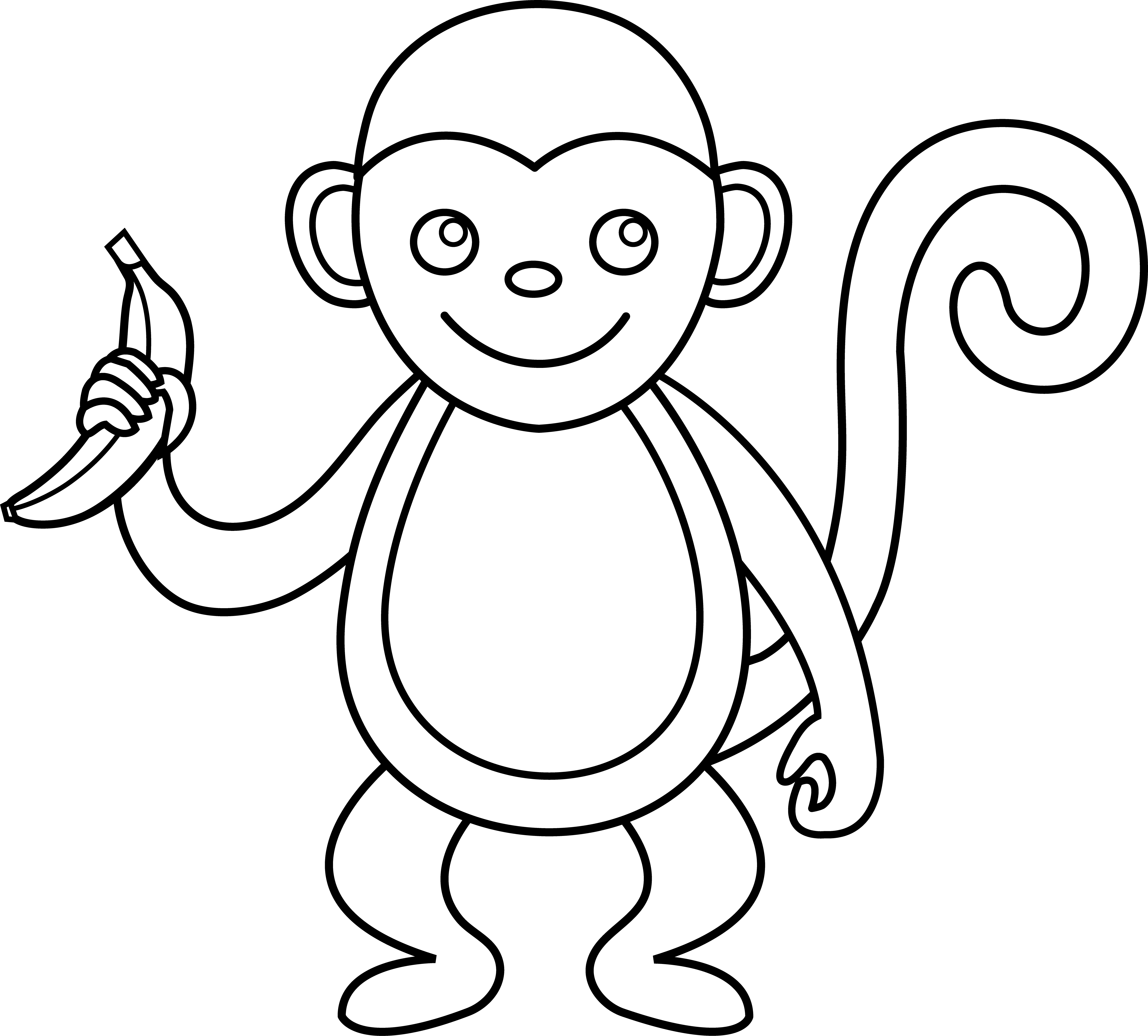 Line Drawing Monkey Face : Baby monkey clip art black and white clipart panda