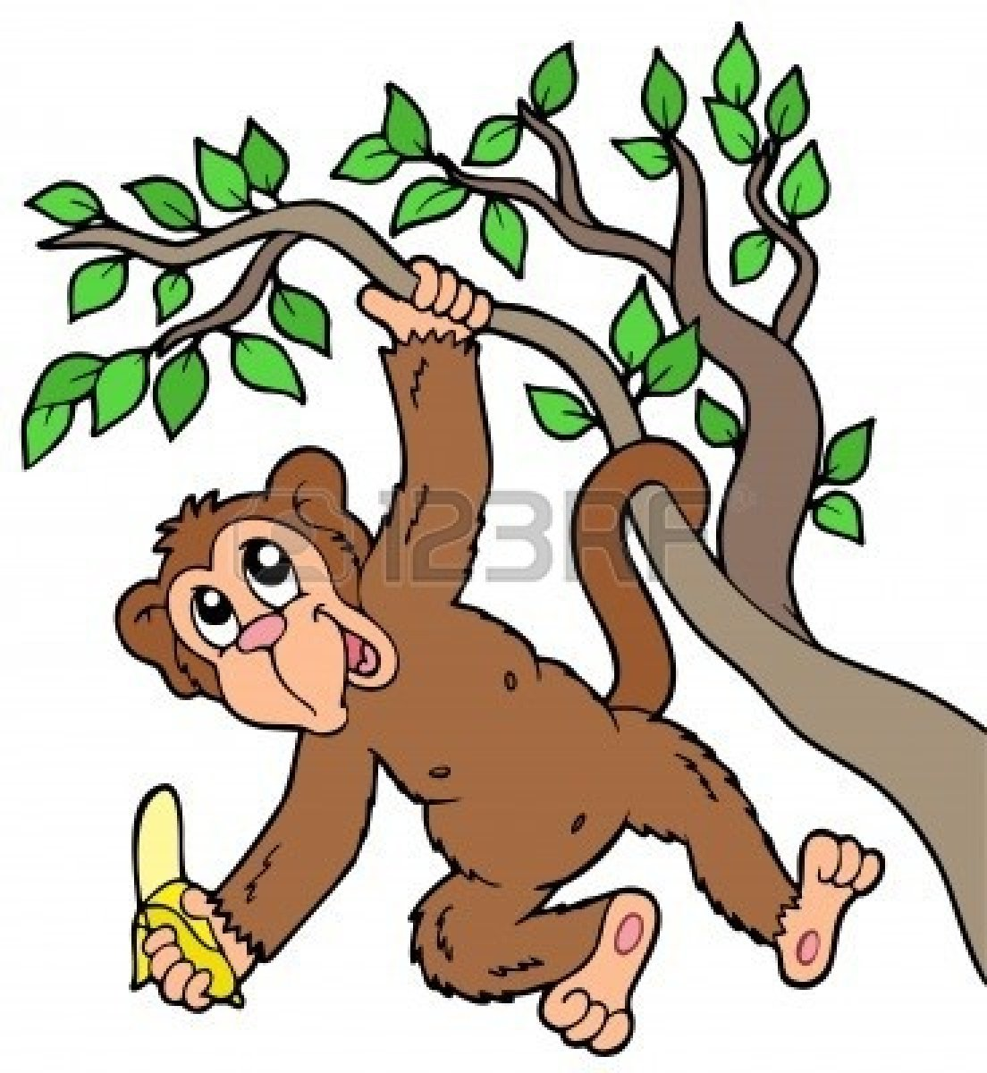 monkey-in-a-tree-cartoon-7077980-monkey-with-banana-on-tree ...