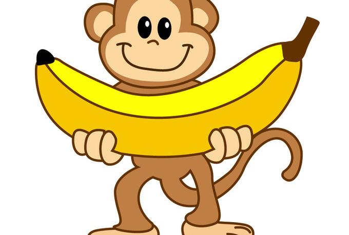 Monkey With Banana Cartoon | Clipart - 77.8KB