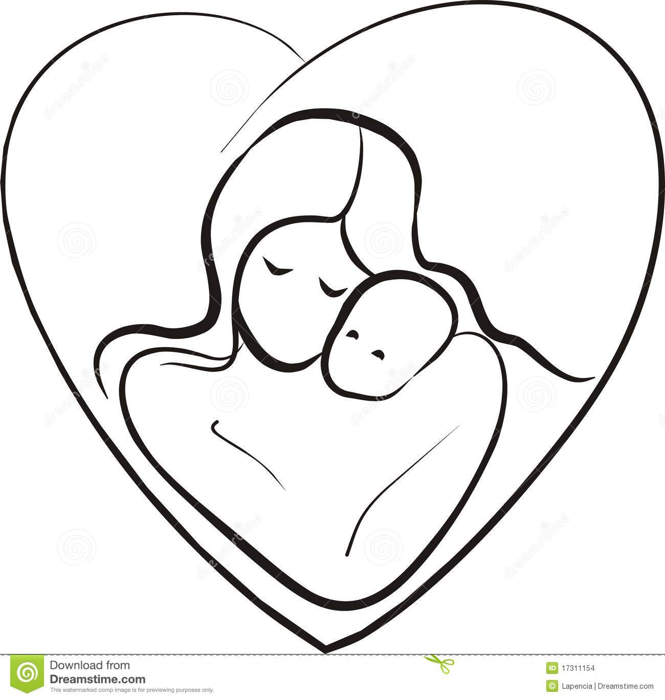 Line Drawing Baby : Mother and baby drawing clipart panda free images