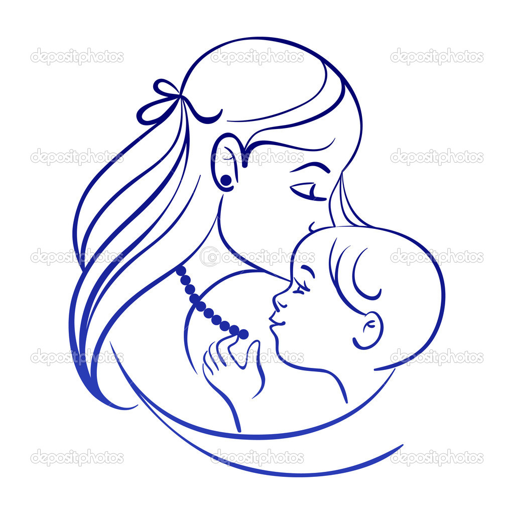 Line Art Baby : Mother and baby line drawing clipart panda free