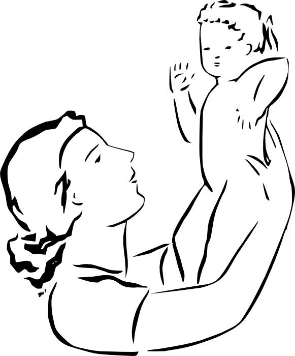 Line Art Baby : Mother and baby drawing clipart panda free images