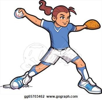 Girl Baseball Player Clip Art