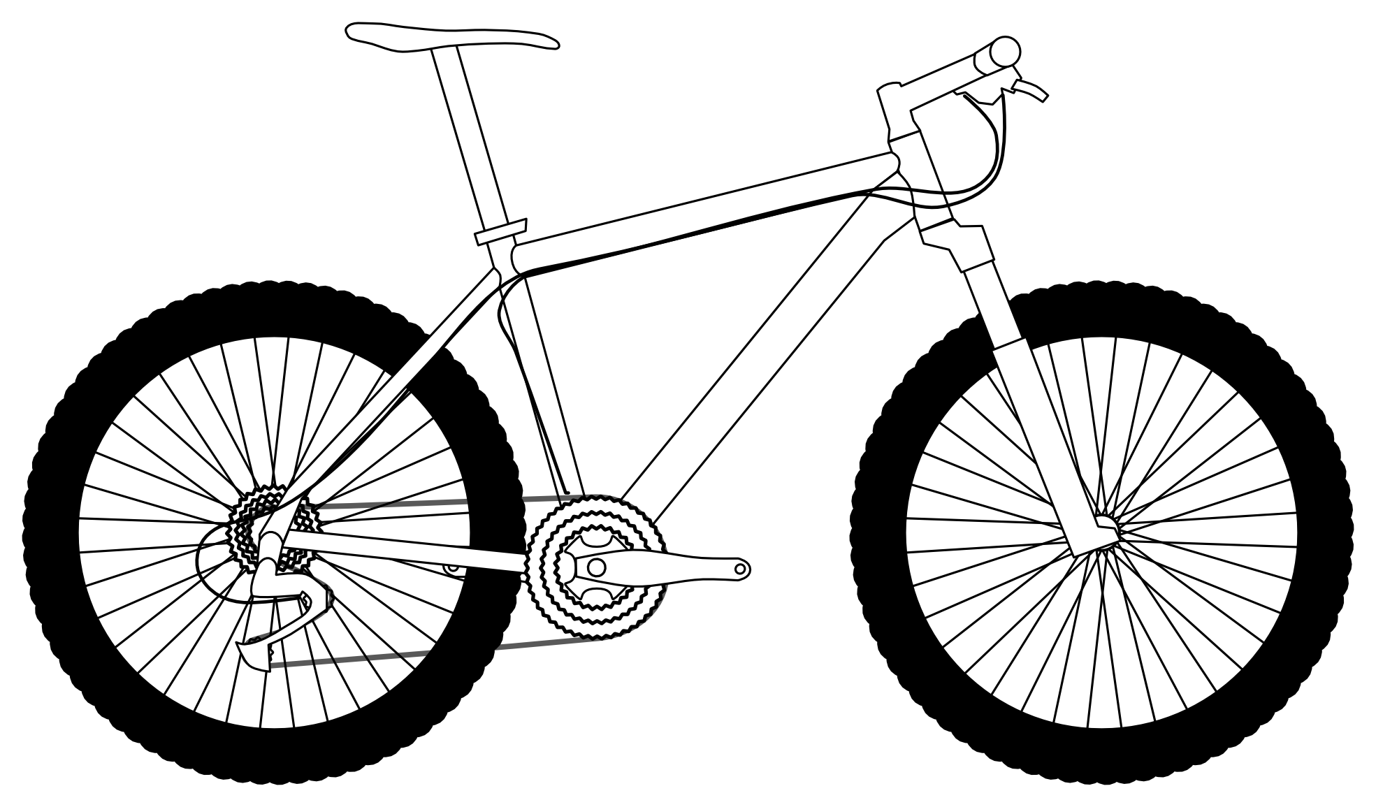 Line Drawing Bicycle : Mountain black and white drawing clipart panda free